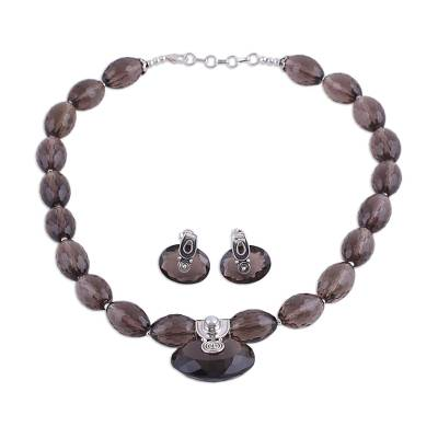 Sterling Silver and Smoky Quartz Jewelry Set