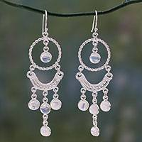 Rainbow moonstone chandelier earrings, 'Magical' - Unique Sterling Silver Rainbow Moonstone Chandelier Earrings