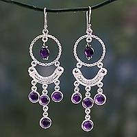 Amethyst chandelier earrings, 'Magical' - Amethyst Chandelier Earrings in Sterling Silver from India