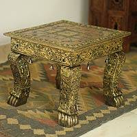 Brass accent table, 'Golden Splendor' - Fair Trade Wood Brass Accent Table Unique Traditional