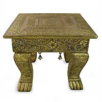 Brass accent table, 'Golden Garland' (medium) - Hand Carved Mango Wood Copper Embellished Table