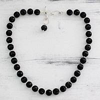 Onyx beaded necklace, 'Midnight Promise' - Onyx Beaded Necklace