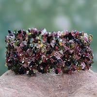Tourmaline stretch bracelet, 'Festive' - Tourmaline Stretch Bracelet Beaded Jewelry Handmade in India