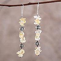 Citrine dangle earrings, 'Golden Garland' - Handcrafted Beaded Citrine Earrings