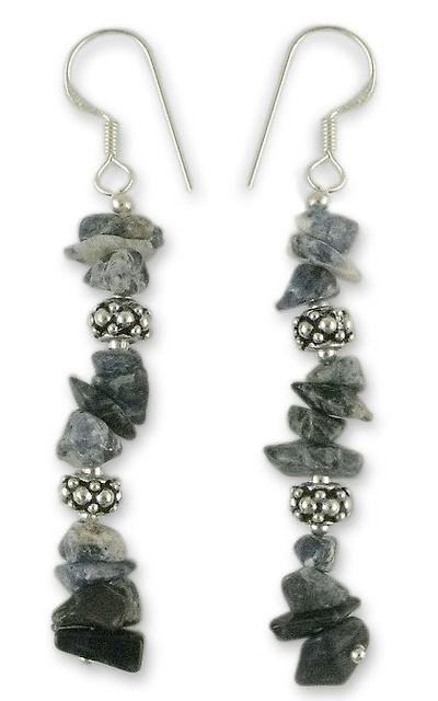 Sterling Silver Beaded Sodalite Earrings