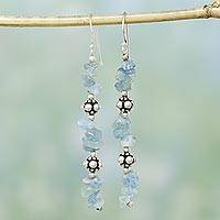 Aquamarine dangle earrings, 'Garland' - Aquamarine dangle earrings