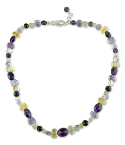 Amethyst and citrine beaded necklace