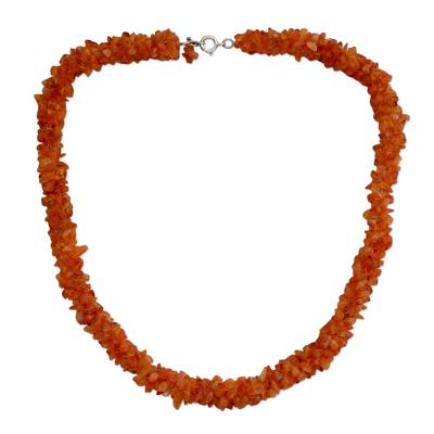 Artisan Crafted Carnelian Beaded Necklace Indian Jewelry