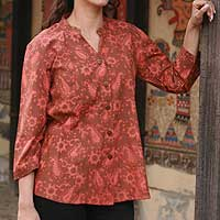 Cotton blouse, 'Radiance' - Paisley Cotton Patterned Blouse Top