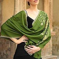 Wool shawl, 'Paisley Splendor' - Avocado Green Embroidered Wool Shawl