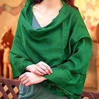 Wool shawl, 'Emerald Muse'