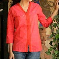 Cotton blouse, 'Sunset Glory' - Cotton Embroidered Blouse Top