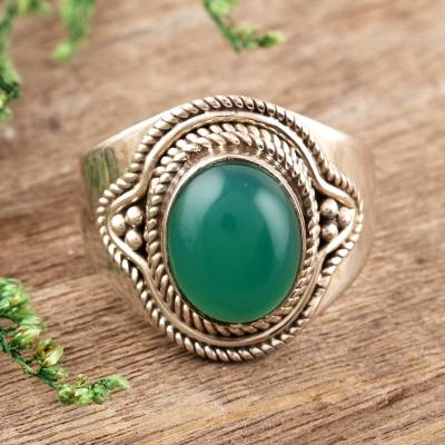 Sterling silver cocktail ring, Verdant Meadow