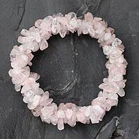 Rose quartz stretch bracelet, 'Rosy Muse' - Hand Crafted Beaded Rose Quartz Bracelet