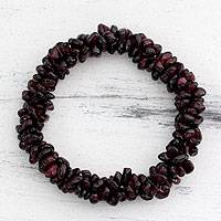 Garnet stretch bracelet, 'Crimson Muse' - Garnet Bracelet Indian Hand Crafted Beaded Jewelry