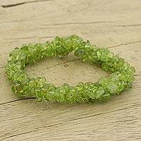 Peridot stretch bracelet, 'Nature's Muse' - Handmade Stretch Peridot Bracelet