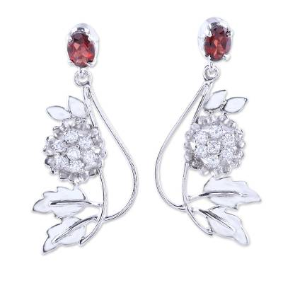 Handcrafted Garnet and Silver Dangle Earrings