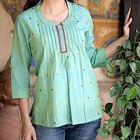 Cotton blouse, 'Lemon Lime' - Handwoven Cotton Embroidered Blouse Top