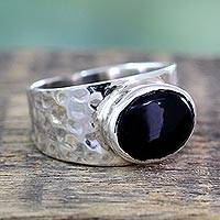 Onyx solitaire ring, 'Enchanted Splendor' - Sterling Silver Single Stone Onyx Ring from India Jewelry