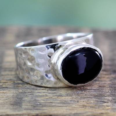silver chain ring diameters - Sterling Silver Single Stone Onyx Ring from India Jewelry