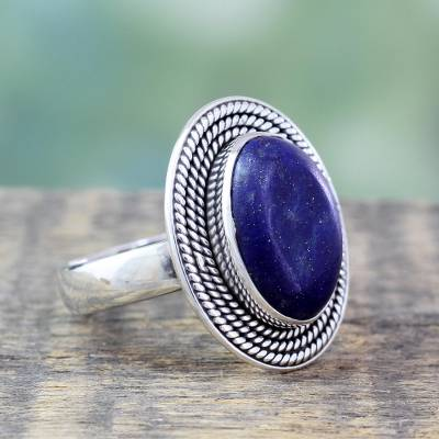 Lapis lazuli cocktail ring, 'Mystic Intuition' - Lapis Lazuli Ring in Sterling Silver from India Jewelry