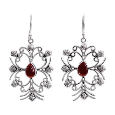 Handcrafted Sterling Silver and Carnelian Dangle Earrings