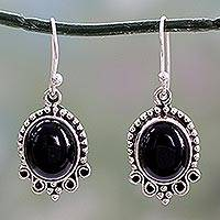 Onyx dangle earrings, 'Midnight Kiss' - Onyx Dangle Earrings in Sterling Silver from India