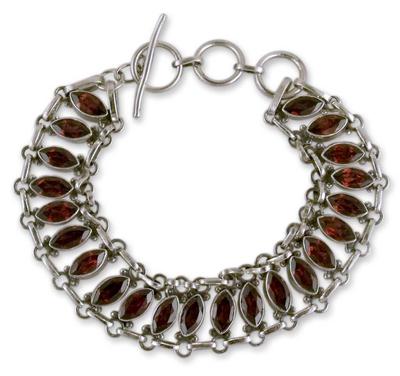 Garnet Wristband Bracelet in Sterling Silver Jewelry