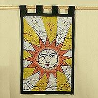 Cotton batik wall hanging, 'Benevolent Sun' - Cotton batik wall hanging