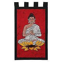 Cotton batik wall hanging, 'Buddha on Red' - Cotton batik wall hanging