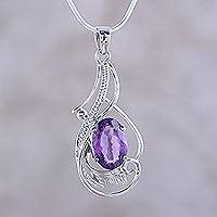 Amethyst pendant necklace, 'Sweet Sonnet' - Amethyst and Sterling Silver Fair Trade Necklace