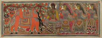 Indian Madhubani Folk Art Painting