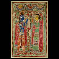 Madhubani painting, 'Rama and Sita' - Traditional Hindu Madhubani Painting from India