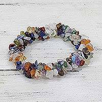 Amethyst and citrine stretch bracelet,