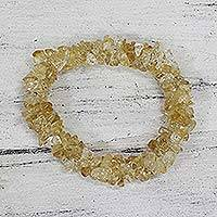 Citrine stretch bracelet, 'Morning Muse' - Fair Trade Jewelry Citrine Indian Stretch Bracelet