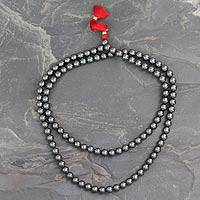 Hematite jap mala prayer beads, 'Pray' - Jap Mala Handmade with Hematite Beads Buddhist Jewelry