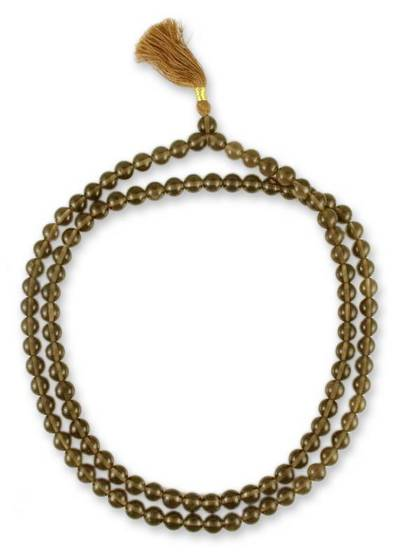 Smoky Quartz Rosary Jap Mala Indian Prayer Necklace