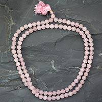 Rose quartz jap mala prayer beads, 'Pray' - Rose Quartz Prayer Beaded Necklace Hindu Jewelry