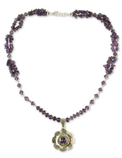 Amethyst floral necklace