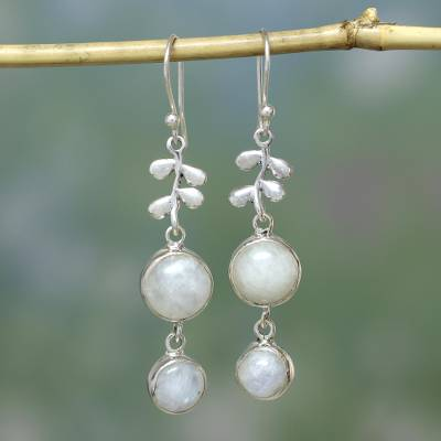 Moonstone dangle earrings, 'Sweet Sugar Cakes' - Moonstone in Sterling Silver Earrings Indian Jewelry