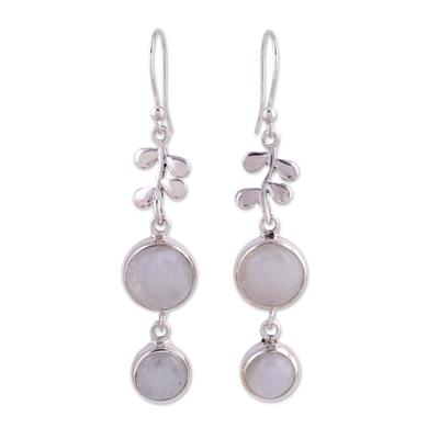 Moonstone in Sterling Silver Earrings Indian Jewelry