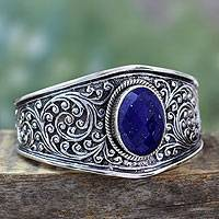 Lapis lazuli cuff bracelet, 'Blue Forest'