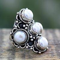 Cultured pearl cocktail ring, 'Iridescent Princess' - White Pearl and Sterling Silver Indian Style Ring