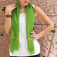 Wool scarf, 'Spring Green' - Wool scarf