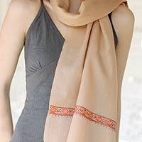 Wool scarf, 'Nutmeg Spice' - Indian Wool Embroidered Scarf for Women