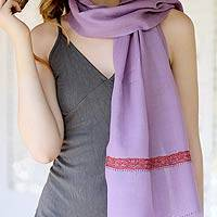 Wool scarf, 'Lilac Rose' - Wool scarf