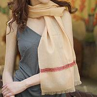 Wool scarf, 'Cherry Cream' - Wool scarf