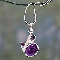 Amethyst pendant necklace, 'Abstract Admirer' - Amethyst Pendant in Sterling Silver Necklace from India