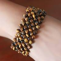 Tiger's eye stretch bracelet, 'Mystical Muse' - Tiger's Eye Beaded Stretch Bracelet