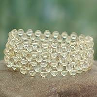 Citrine stretch bracelet, 'Mystical Muse' - Artisan Crafted Jewelry Citrine Stretch Bracelet
